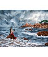 Original Painting Mermaid Raven Crow Fantasy Gr... - $899.00