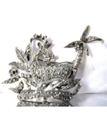 Art Deco Sterling Gazelle Brooch Marcasite Pal... - $48.00