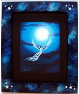 Blue Moon Angel Stars Print Handpainted Frame F... - $125.00