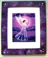 Purple Moon Angel Stars Print Handpainted Frame... - $125.00