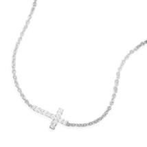 Silver Necklace with Sideways CZ Cross - $44.98
