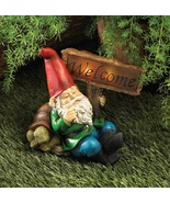 Welcome Sign Gnome Statue Solar Lamp - $27.00