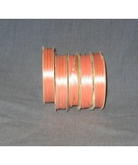 Peach Ribbon 5 spools 40+ yards 3mm wide Polyester - $4.00