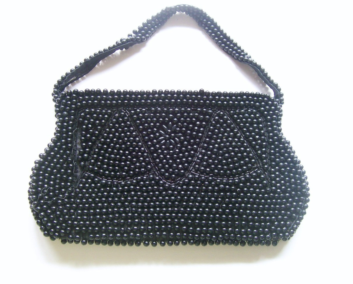 Beaded Purse Black Evening Bag Made in Japan Unused Vintage