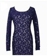 Royalty-Inspired Dark Navy Blue Full Lace Dress-Long Sleeve, XXLARGE