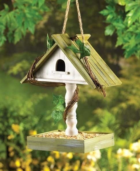 Birdhouse with Bird Seed Feeder Tray House Tabletop or Hanging