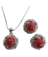 Wedding Wear Jewelry Wine Color Necklace Earrin... - $21.83