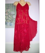 Vtg VICTORIA SECRET Gold Label Red Brocade Chiffon Nightgown