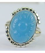 Carved Blue Chalcedony Stylized Floral Oval Ste... - $73.92