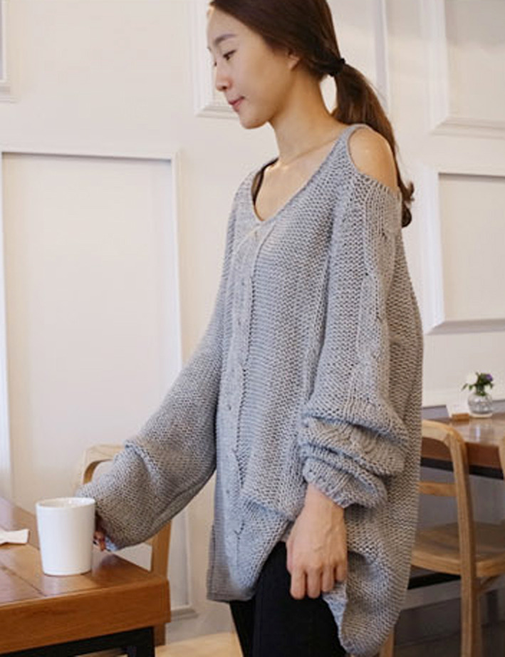 2012_autumn_winter_chunky_knit_loose_sweater_off_shoulder_grey