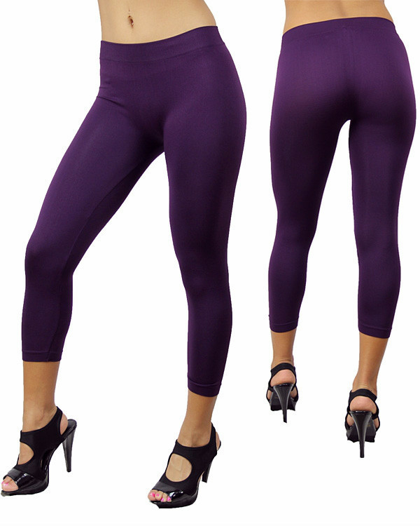 Women's New Purple Spandex Stretch Seamless Skinny Leggings Pants One Size Tight