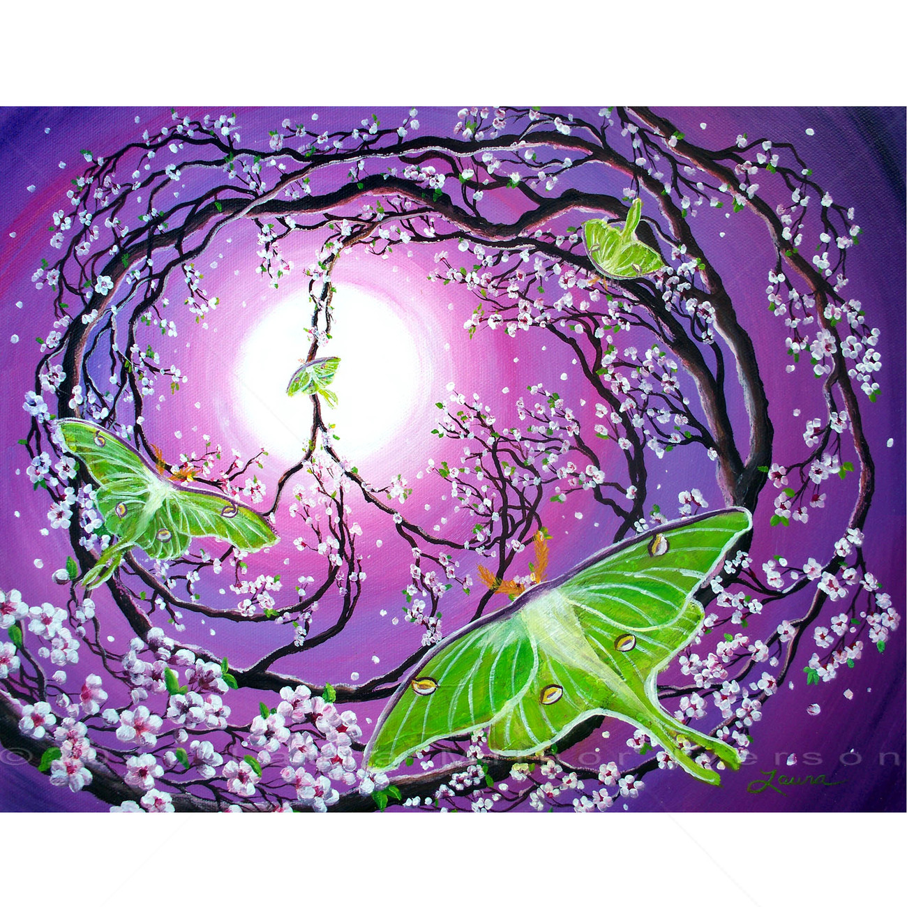 Original Painting Peace Sign Tree Luna Moths Purple Cherry Blossoms Sakura Green