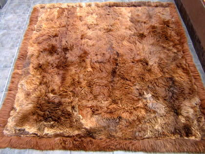 Soft dark brown baby alpaca fur carpet, 300 x 280 cm/ 9'84 x 9'18