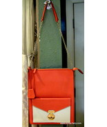 Celine Envelope Shoulder Bag, Orange & Ivory