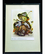 Vintage Hummel Print Boy With Rabbits German - $10.50