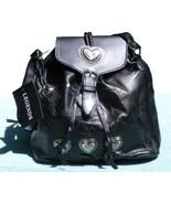 Genuine Black Leather Purse Silver Tone Heart C... - $23.99