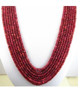 7 Strands of Hand Cut Natural Red Ruby Rondelle... - $273.29