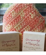 Handmade Crocheted Washcloth & Orange Hibiscus Soap 3-Pc Se