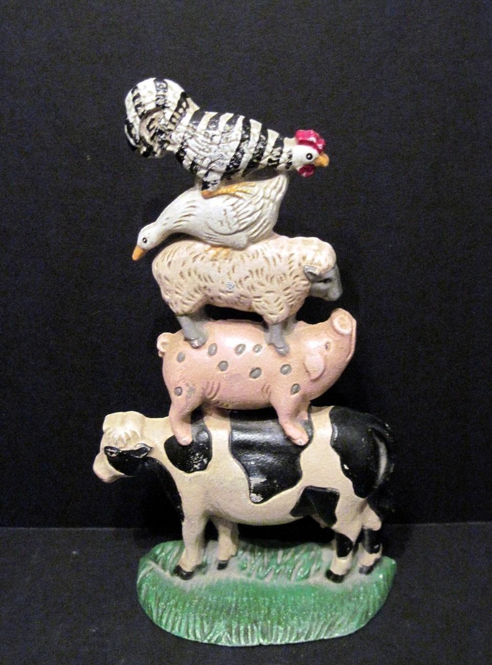 cast iron doorstop pyramid cow