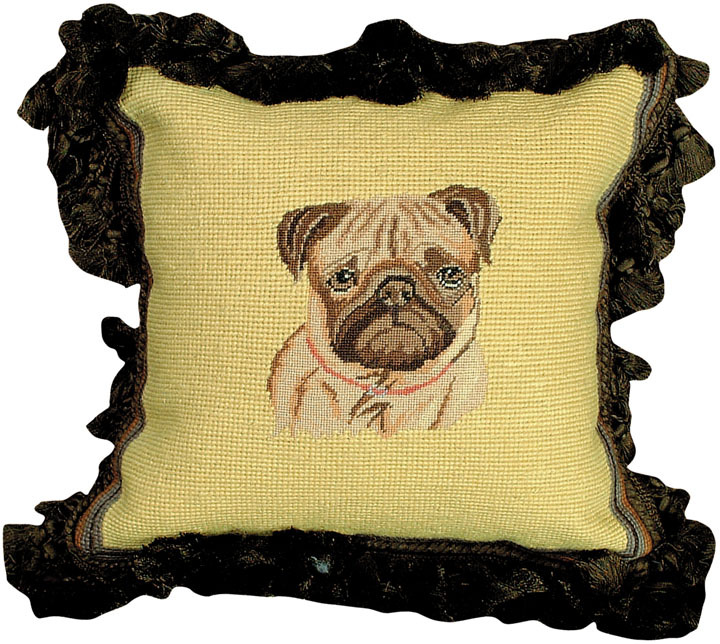 Fawn Pug Petit Point Pillow