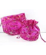 2 Jewelry Pouches Gift Bags Round Fucshia Orien... - $6.99