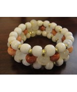 Bracelet Rose Quartz and white glass beads with... - $35.00
