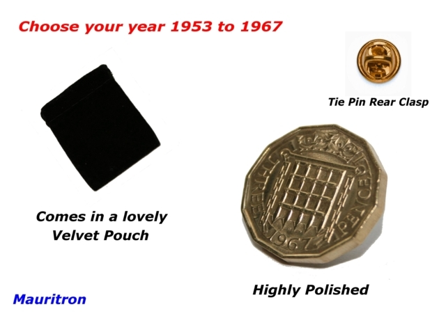 Pin Badge 3d Threepence 1954 Threepenny Bit. Lovely Gift Item