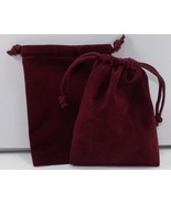 10 Jewelry Pouches Gift Bag 3 X 4 Burgundy Velo... - $7.99