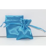 10 Jewelry Pouches Gift Bags 3X4 Turquoise Sati... - $7.99