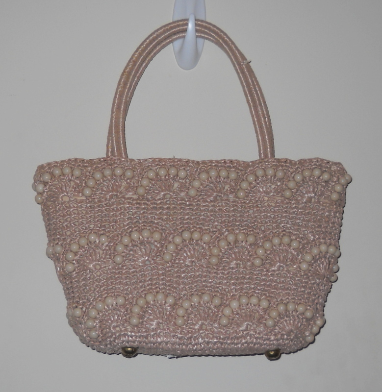 Vintage Handbag Bag Tote Beige Straw Beaded Jordan Marsh Company Boston 1960s
