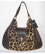 NEW CLAUDIA FIRENZE ITALY HANDBAG BROWN LEATHER LEOPARD HAIRCALF HOBO NWT $515