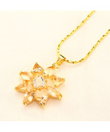 Citrine Yellow and Clear Premium AAA CZ Flower ... - $14.00