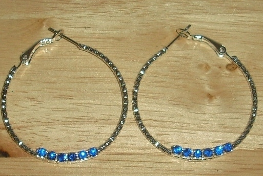 Beautiful Hoop Faux Jeweled Earrings Pierced