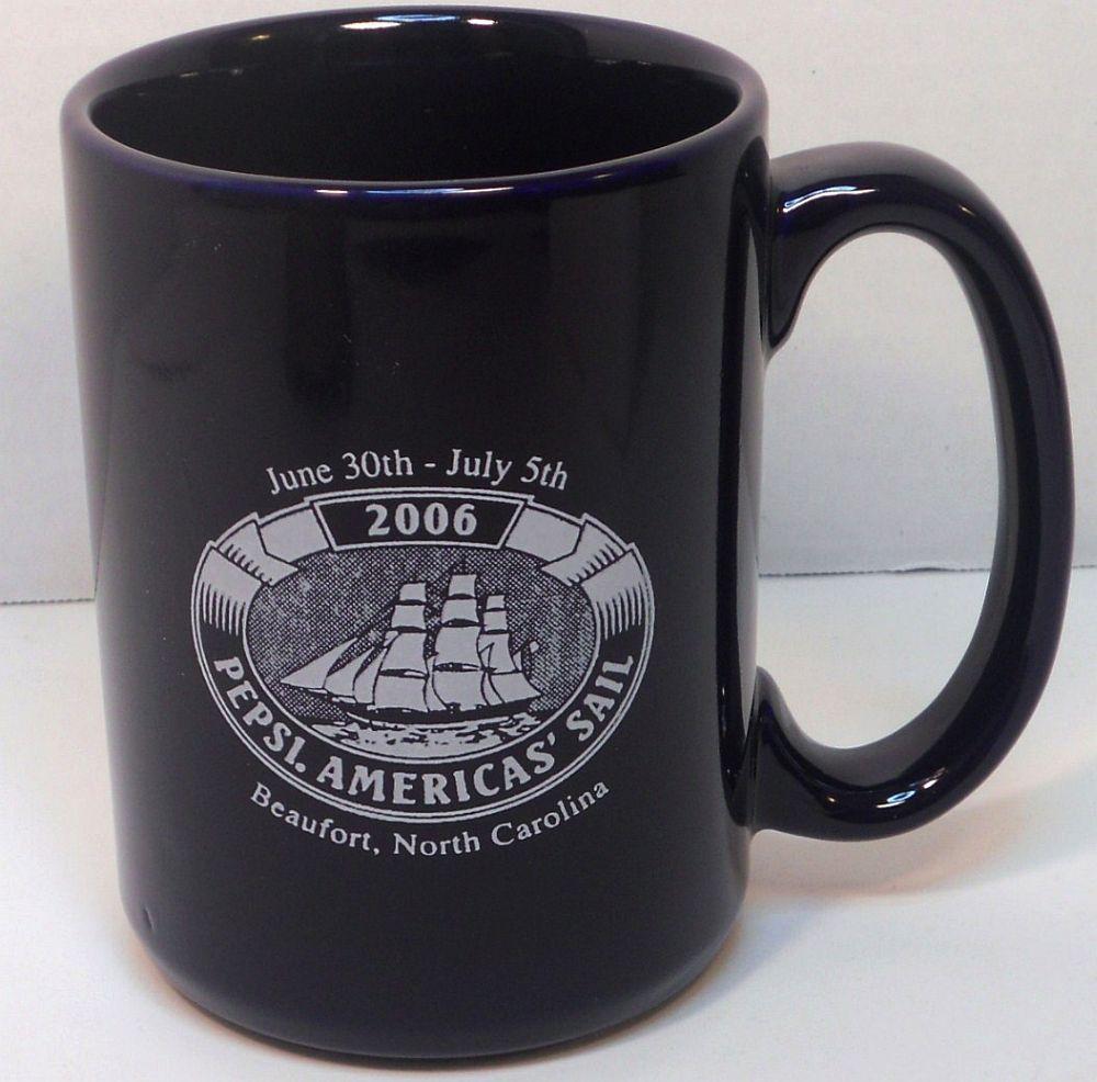 Pepsi Americas Sail 2006 coffee beverage mug navy blue Beaufort NC