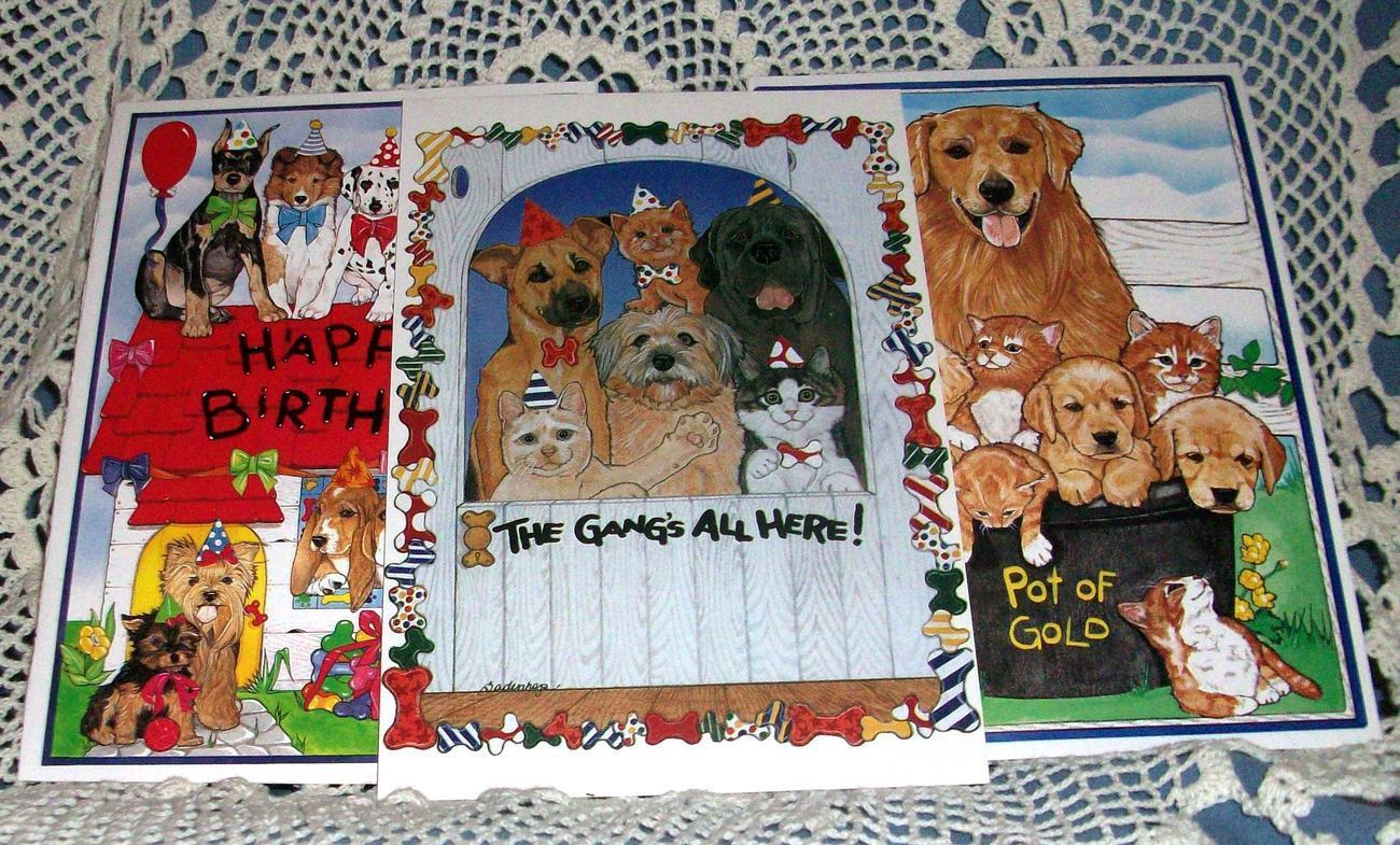 Lot of 3 Pipsqueak Production North Shore Animal League Birthday Cards Cats Dogs