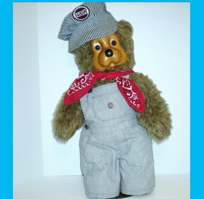 Image 0 of Robert Raikes Woody Bear Train Engineer 22 inch 1987 Ltd Ed  25