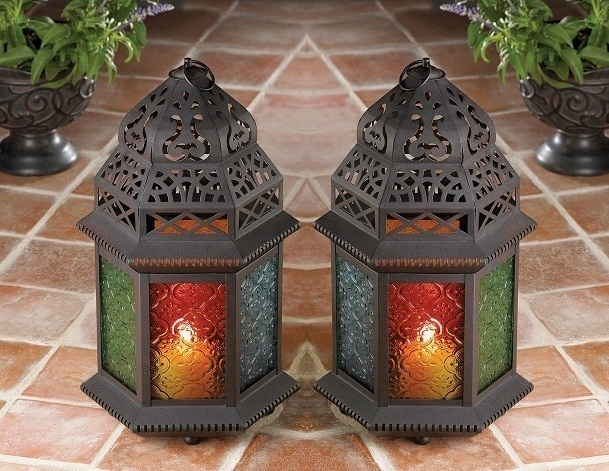 2 Candle Holders Moroccan Hanging or Table Lamps Lanterns Multi Color Glass