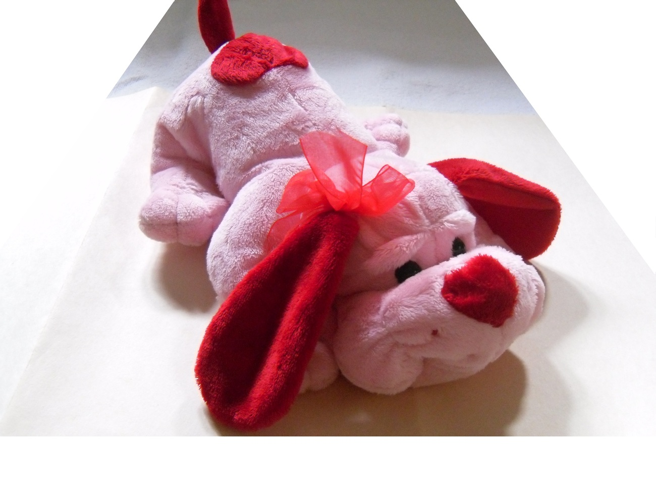 "Pink Red Plushie Dog Stuffed Animal with Red Bow 10"" New"