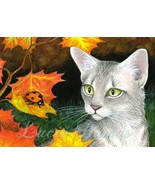ACEO art print Cat 446 ladybug, painting by Luc... - $4.99