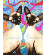 ACEO art print Cat 480 siamese, painting by Luc... - $4.99