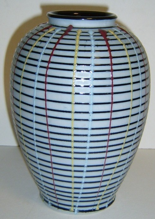 Unusual Black Glass Vase with GRID Stripe Design