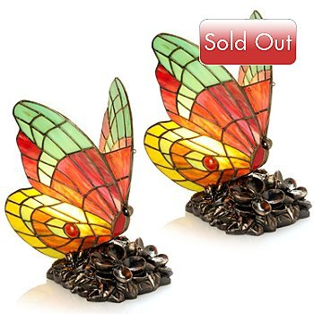 "9"" Colorful Delight Butterfly Accent Lamps - Set of Two"