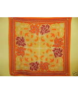 Vintage Crepe Scarf Vibrant Red Orange Yellow 2... - $19.99