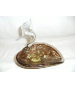 Vintage Murano Art Glass Swan Bowl Gold Aventurine - $49.99