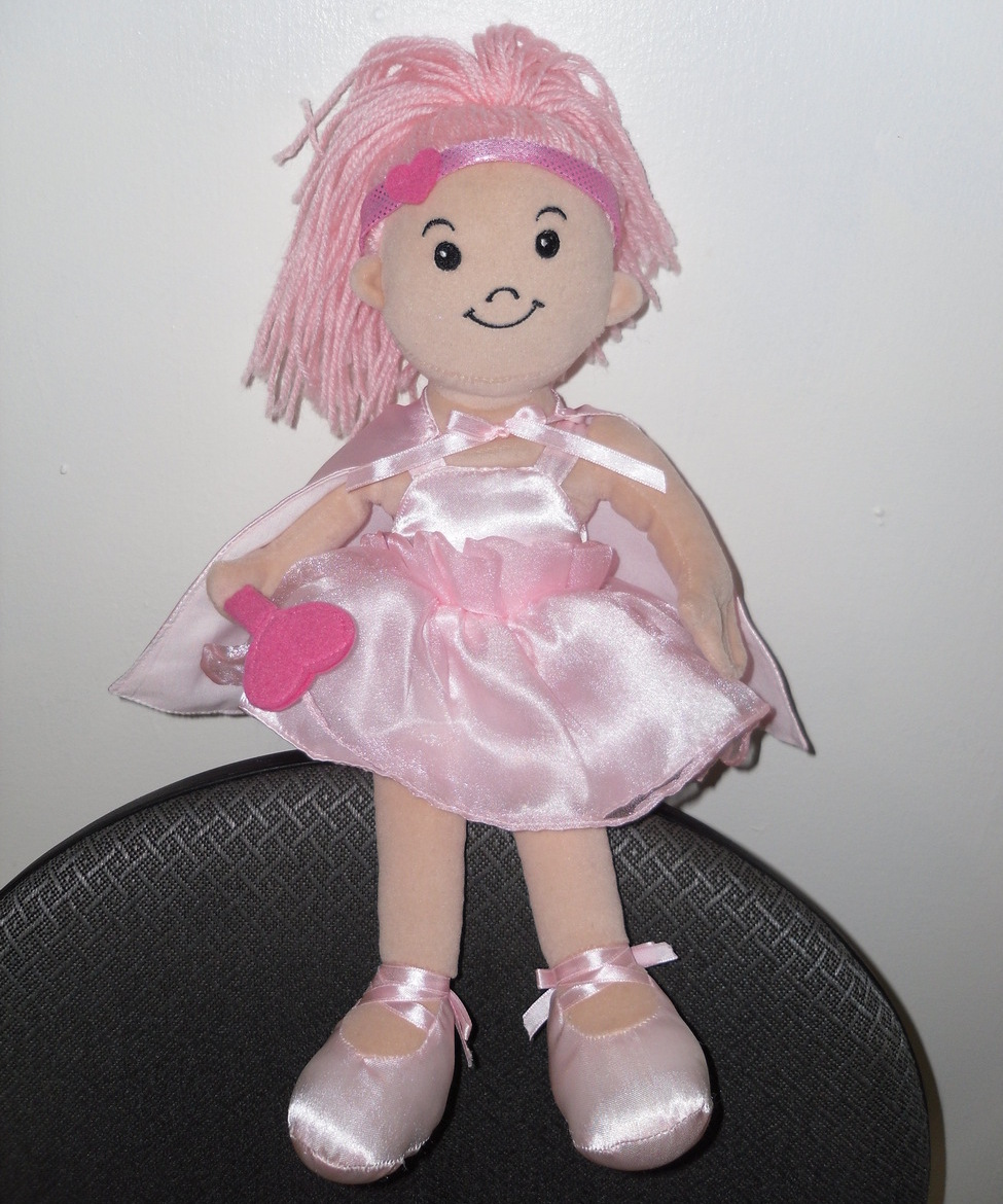 "16.5"" Pink Doll with Yarn Hair Heart Wand Headband Pink Cape and Ballet Slippers"