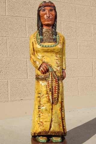 Wooden Cigar Store Indian Maiden Squaw by Frank Gallagher 3 Footer