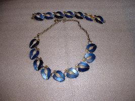 Vintage Lisner Signed Necklace Lucite Blue with... - $25.00