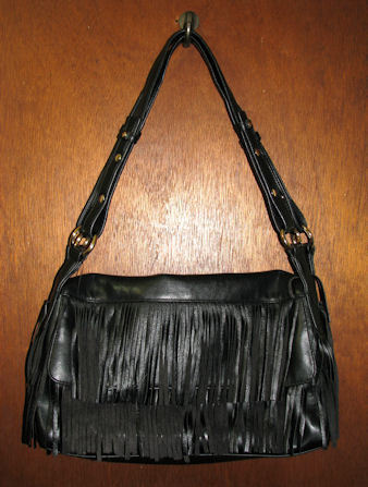 Liz Claiborne Black Fringe Handbag Shoulder Purse Tote