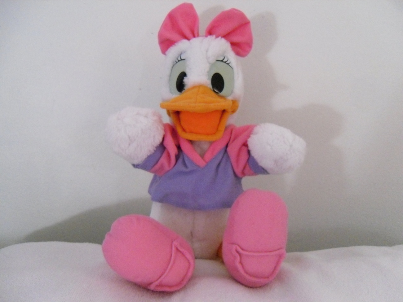 "15"" Daisy Duck Plush Toy Animal with Pink Shoes Pink Purple Top and Pink Bow"