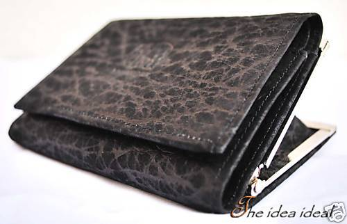 BLACK ELEPHANT SKIN LEATHER COIN CLUTCH WALLET+Gift bag